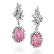 Verdura Late-20th Century Diamond, Kunzite and Platinum Earrings