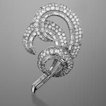 Cartier Mid-20th Century Diamond and Platinum 'Feather'  Brooch
