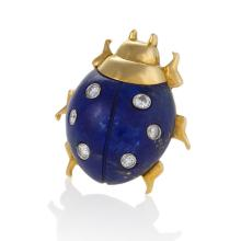 Cartier France Mid-20th Century Diamond, Lapis Lazuli, Gold and Platinum Pair of Brooches