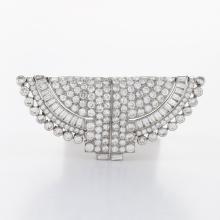 Ostertag Paris Art Deco Diamond and Platinum Double Clip Brooch