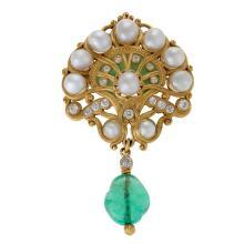 Marcus & Co. Art Nouveau Pearl, Diamond and Emerald Brooch