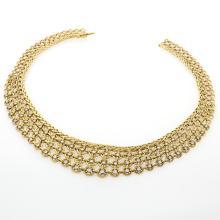 Sterlé Paris Diamond and Gold Bib Necklace