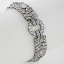 Art Deco Diamond, Emerald and Platinum Bracelet