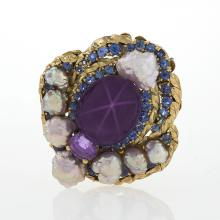 Louis Comfort Tiffany Arts & Crafts Sapphire, Pearl and Gold Brooch