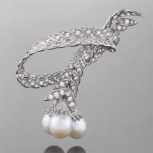 Pierre Sterlé Mid-20th Century Diamond, Pearl and Platinum Brooch