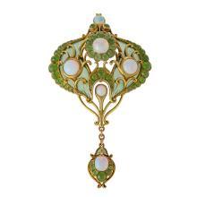Marcus & Co. Art Nouveau White Opal and Chrysoprase, Plique-à-Jour Enamel and Gold Pendant Brooch