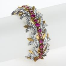 Tiffany & Co. Mid-20th Century Ruby, Diamond, Platinum and Gold Bracelet