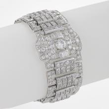 French Art Deco Diamond and Platinum Wide Bracelet