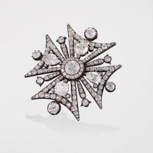 Antique Diamond, Gold and Silver Maltese Cross Brooch