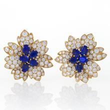 Van Cleef & Arpels Paris Estate Diamond, Blue Sapphire and Gold Earrings