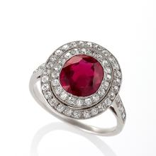 Art Deco Burma Ruby, Diamond and Platinum Ring