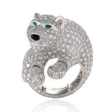 Cartier Paris Late-20th Century Diamond, Onyx, Emerald and Platinum 'Panthère' Ring