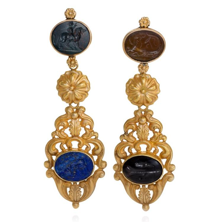 English regency intaglio and gold pendant earrings aloadofball Image collections