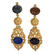 English Regency Intaglio and Gold Pendant Earrings