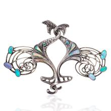 Georges Fouquet Art Nouveau Opal and Silver Peacock Cloak Clasp