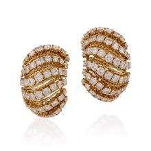 Van Cleef & Arpels Mid-20th Century Diamond and Gold Bombé 'Coucous' Earrings