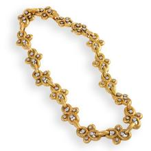 David Webb 1980's Diamond and Gold Necklace