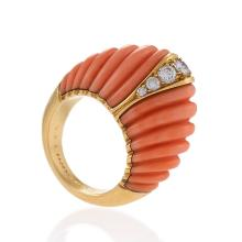 Van Cleef & Arpels Paris Coral Diamond and Gold Bombé Ring