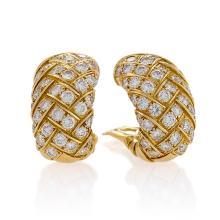 Van Cleef & Arpels Mid-20th Century Diamond and Gold Earrings