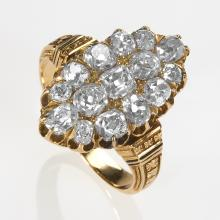 Victorian Gold and Diamond 'Navette' Ring