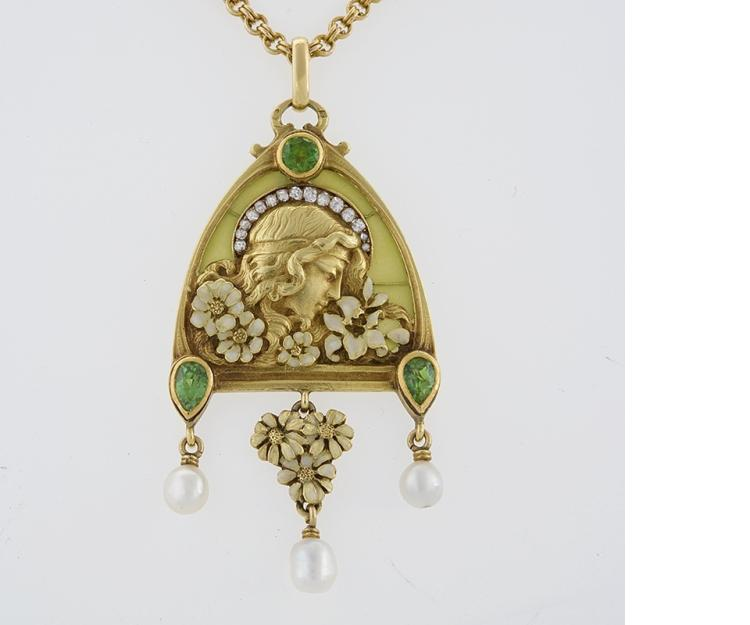French Antique Gold Enamel, Diamond, Peridot and  Plique-à-Jour Juliet Pendant