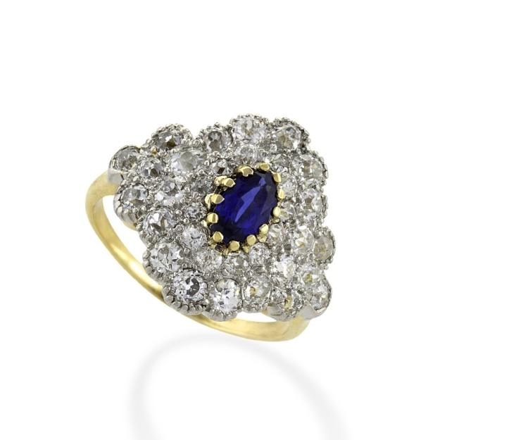 Antique Gold, Platinum Ring with Diamond and Blue Sapphire