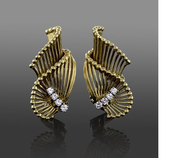 Tiffany & Co. Mid-20th Century Diamond and Gold Earrings