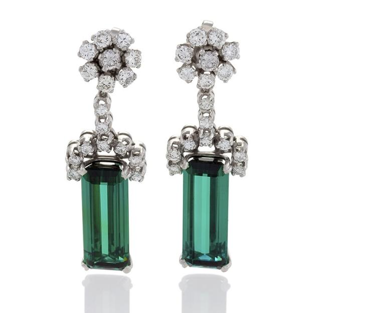Estate Diamond, Tourmaline and Platinum Earrings
