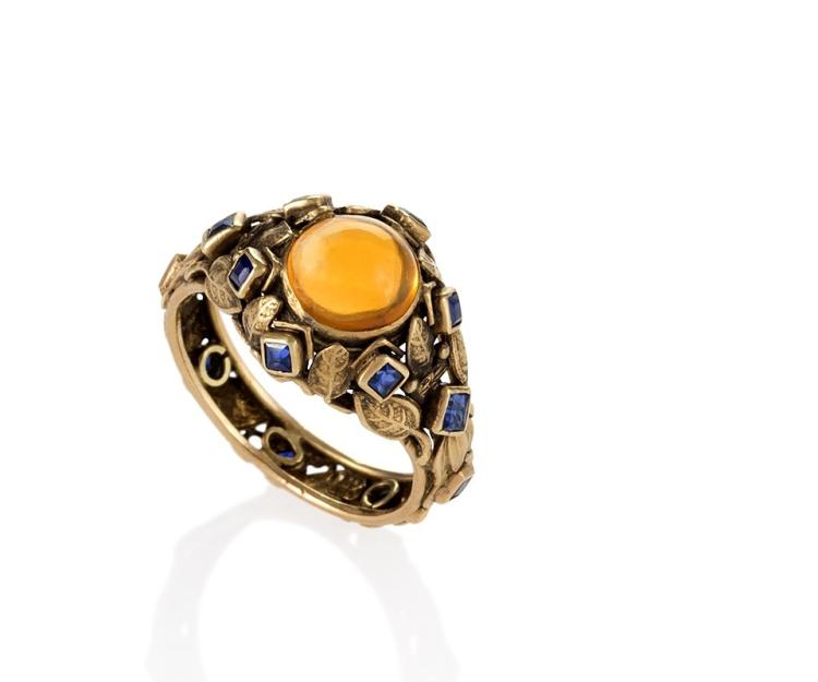 Arts and Crafts Citrine, Sapphire and Gold Ring