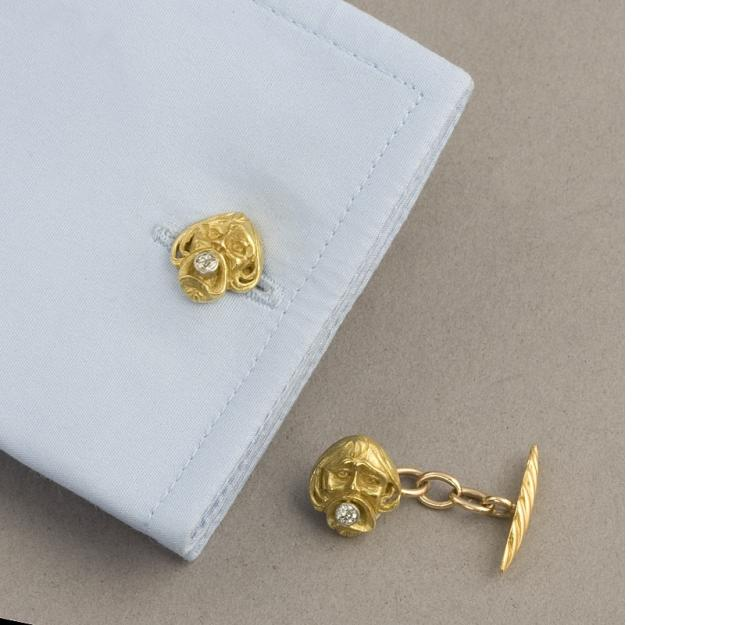 Art Nouveau Gold and Diamond Cuff Links
