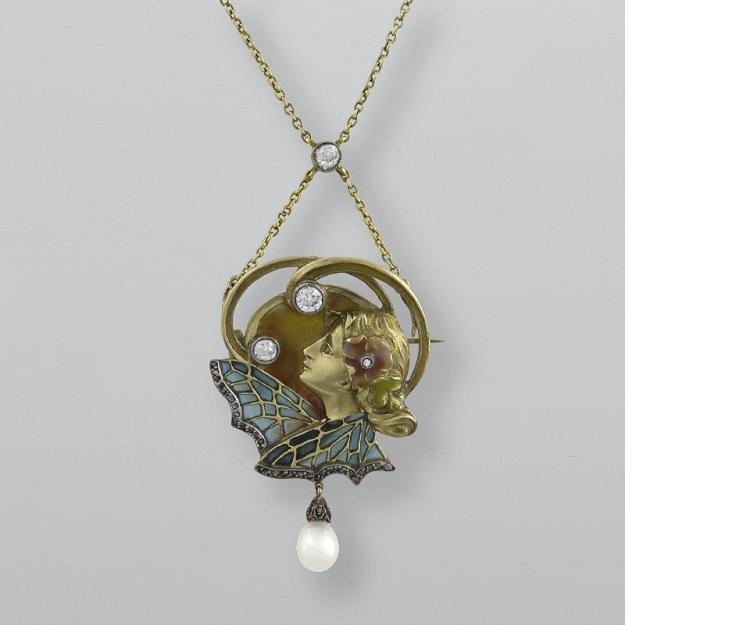 Art Nouveau Diamond and Plique-a-Jour  Necklace