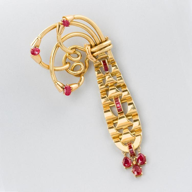 French Retro Gold and Ruby Brooch by Mellerio
