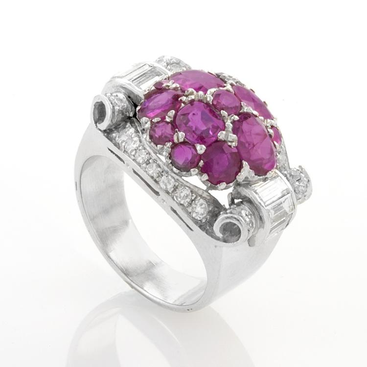 Retro Platinum, Ruby, and Diamond Ring