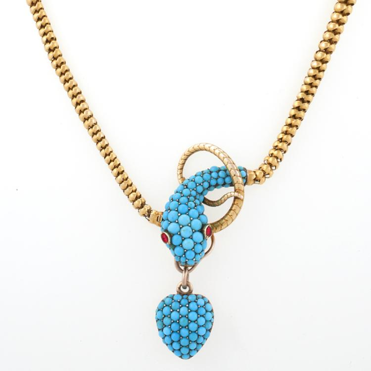 Tessier London Antique Turquoise, Ruby and Gold Snake Necklace