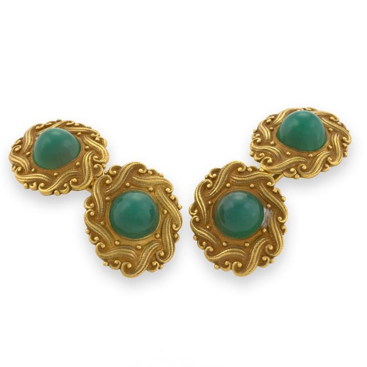 Art  Nouveau Green Chrysophrase and Gold Cuff Links