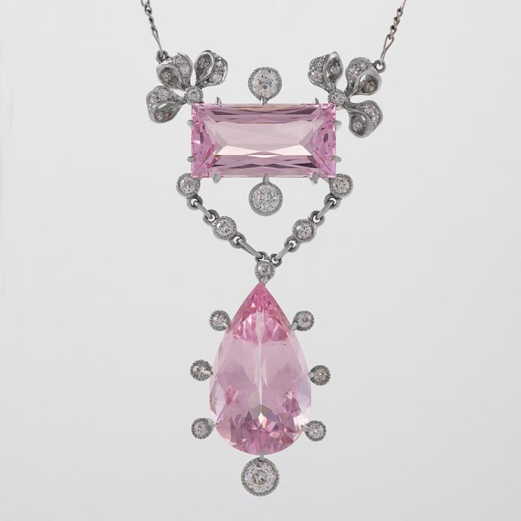 Edwardian Morganite, Diamond and Platinum Lavaliere Necklace