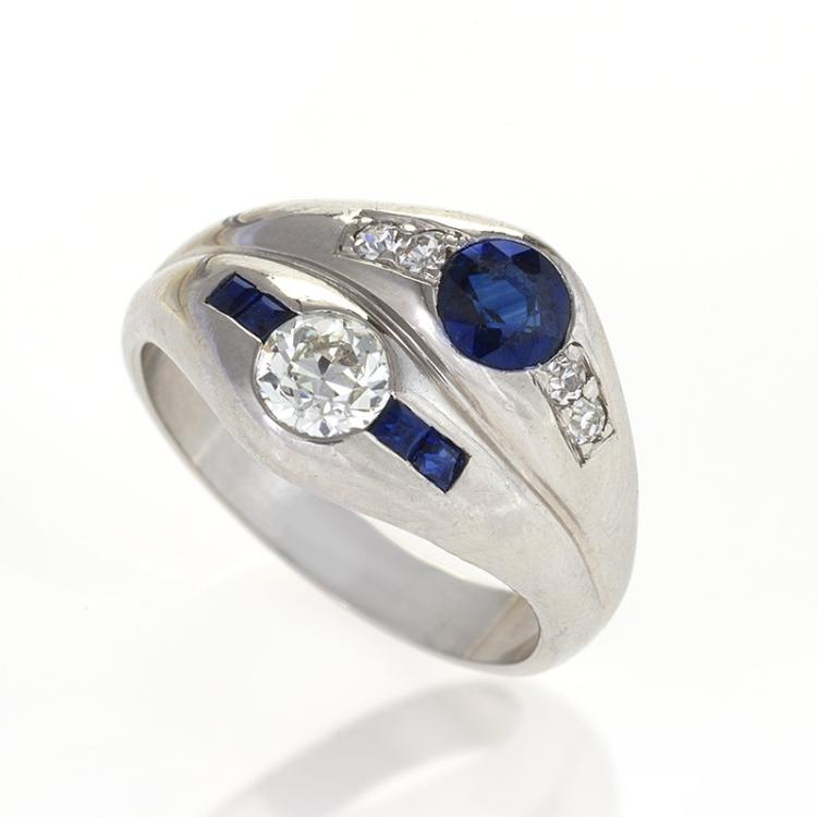 Late Art Deco Diamond, Sapphire and Platinum Double Ying-Yang Ring