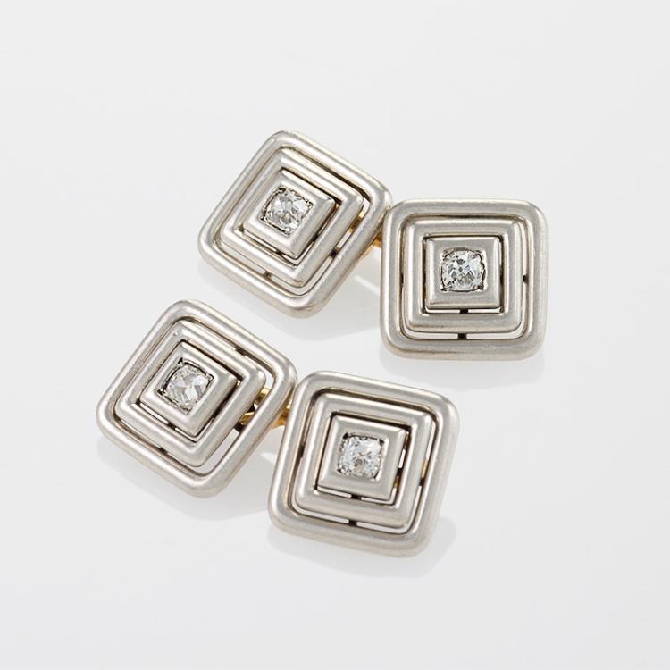 Art Deco Diamond, Platinum and Gold Cuff Links