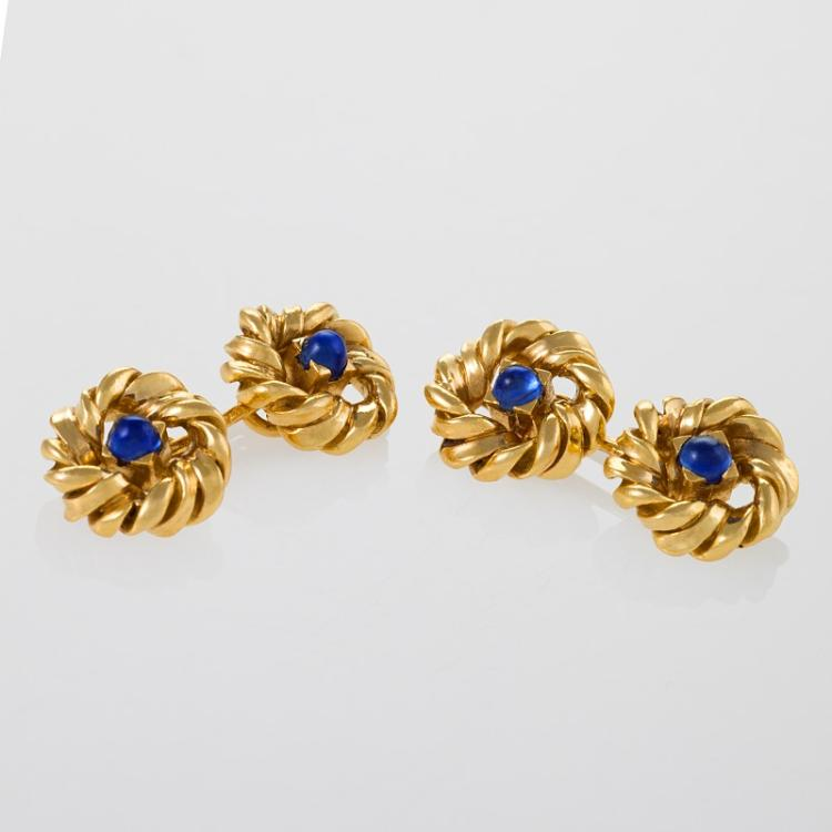 Van Cleef & Arpels Mid-20th Century Sapphire and Gold Cuff Links