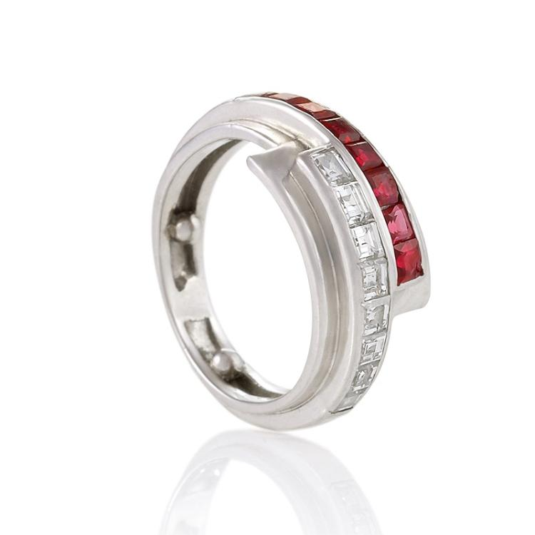 Raymond Yard Retro Diamond, Ruby and Platinum Ribbon Ring