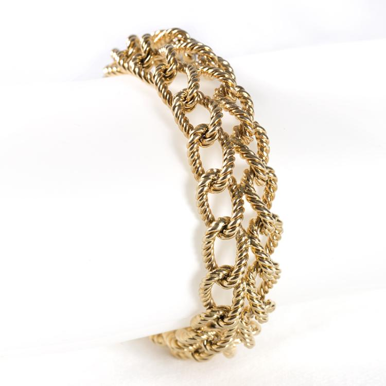 Double Twisted Link Braided Gold Bracelet