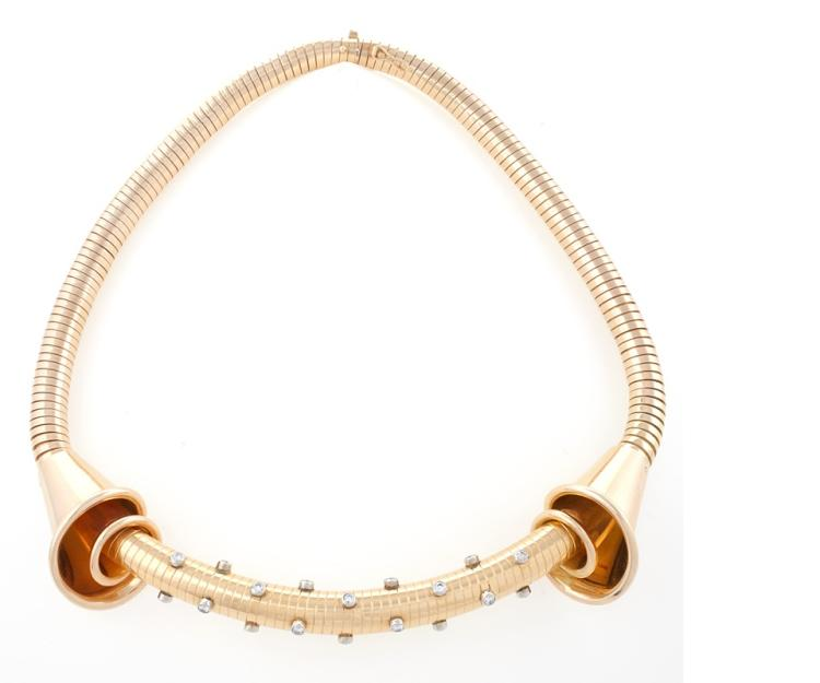 Fine French Retro Diamond and Gold Tubogas Necklace