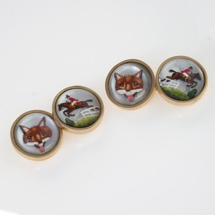 English Essex Crystal Cuff Links