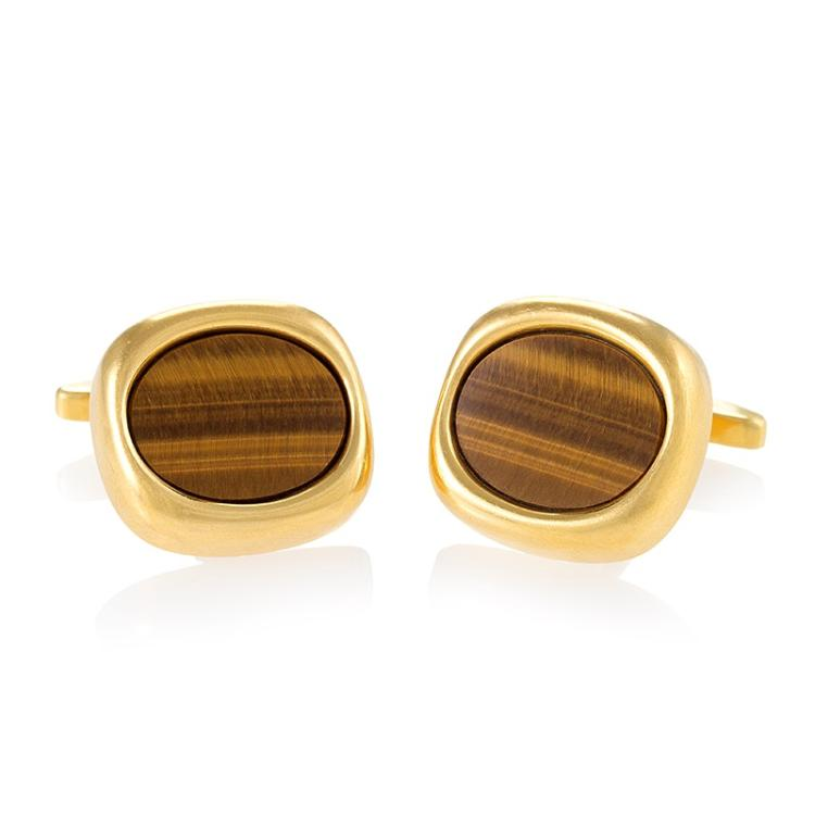 Sannit & Stein Mid-20th Century Tiger Eye and Gold Cuff Links