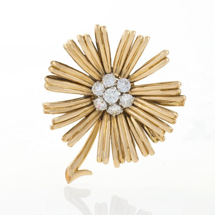 Mid 20th Century Gold, Platinum and Diamond Brooch by Van Cleef & Arpels