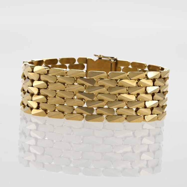 French Mid-20th Century Diamond, Gold and Platinum Bracelet