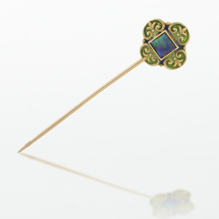 Marcus & Co. Art Nouveau Opal and Gold Stick Pin