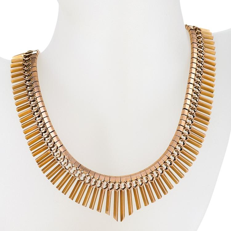 Mid-20th Century Gold Fringe Necklace