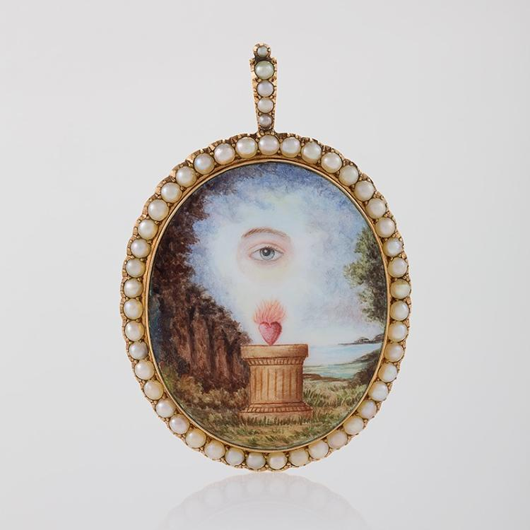 English Georgian Pearl, Porcelain Enamel and Gold Pendant Necklace