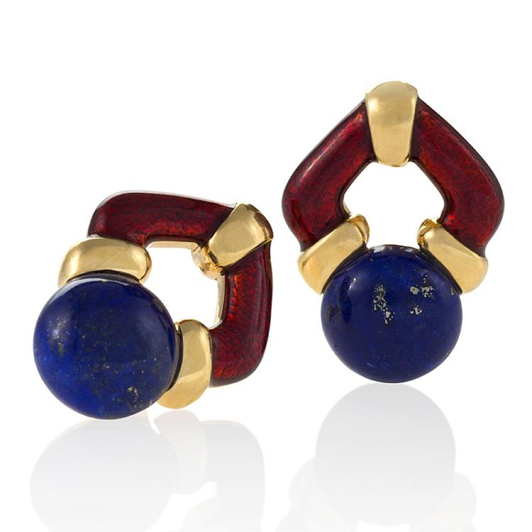 Lapis, gold and Enamel Earrings by Clunn
